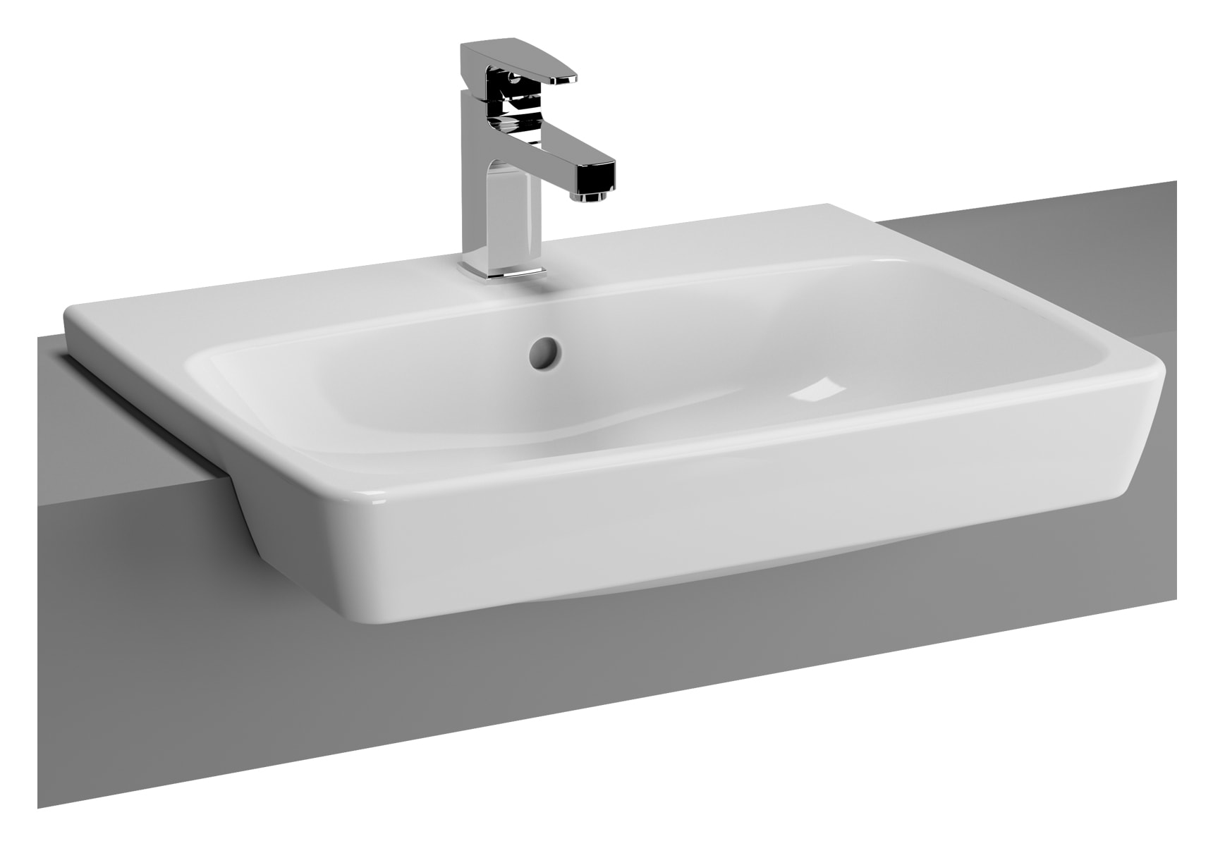 Metropole Recessed Basin with Middle Tap Hole, with Side Holes