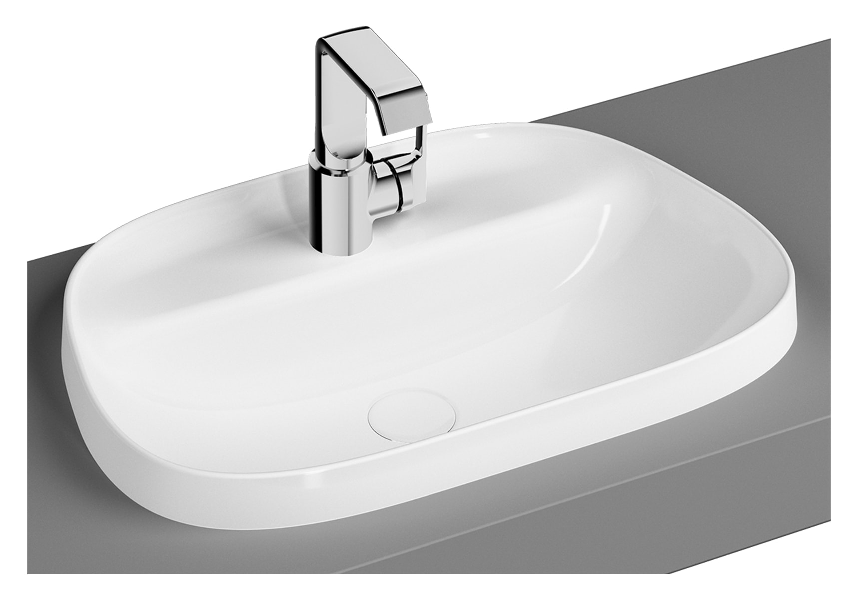 Tv Shaped Countertop Basin, 57cm, One Tap Hole, Without Overflow Hole