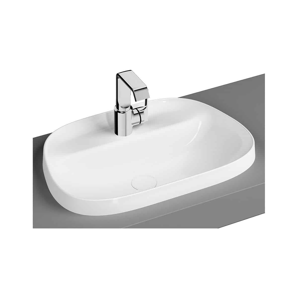Frame Countertop Washbasin, Tv-Shaped, 57cm, One Tap Hole, Without Overflow Hole
