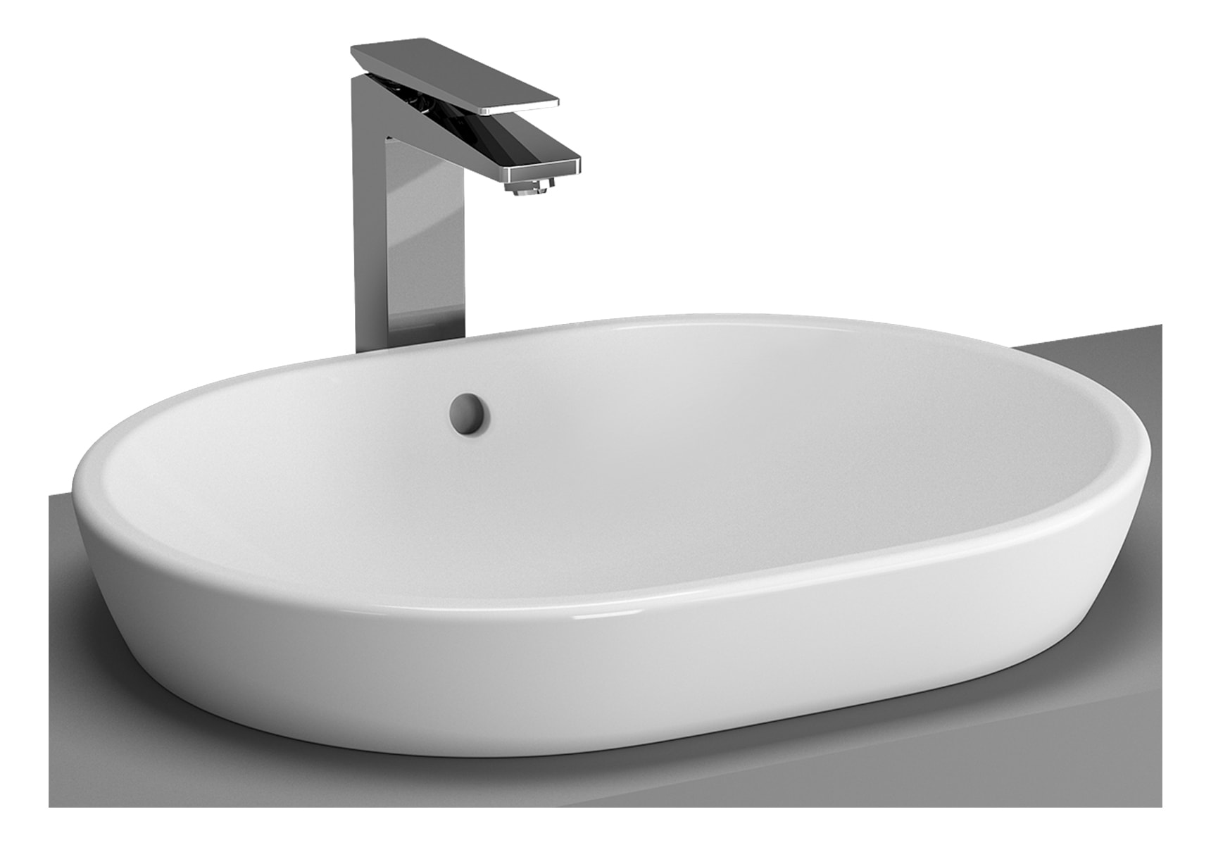 Metropole Countertop Round Bowl, 60cm, without Tap Hole, with Overflow Hole