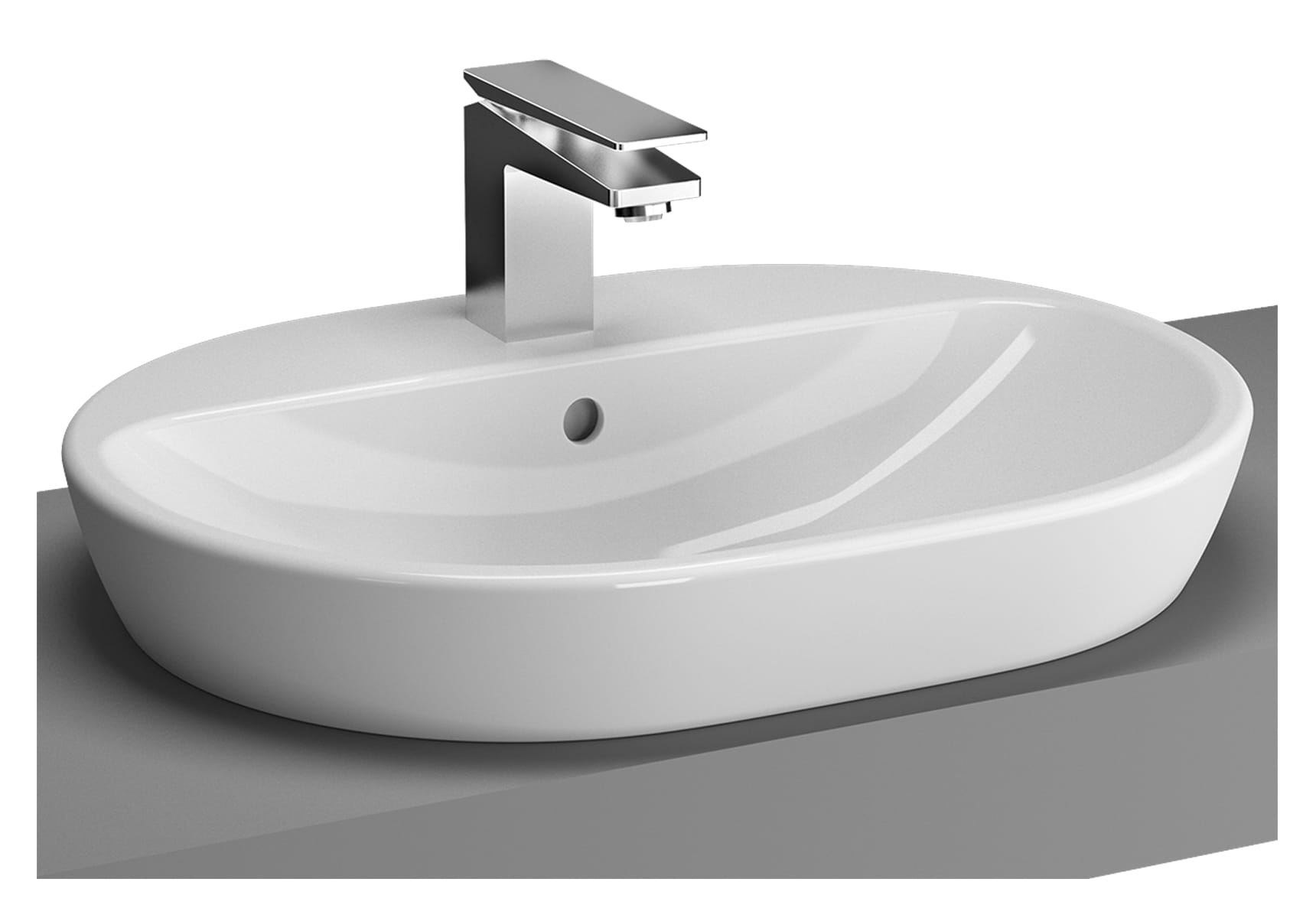Metropole Countertop Round Bowl, 60cm, with Tap Hole, without Overflow Hole