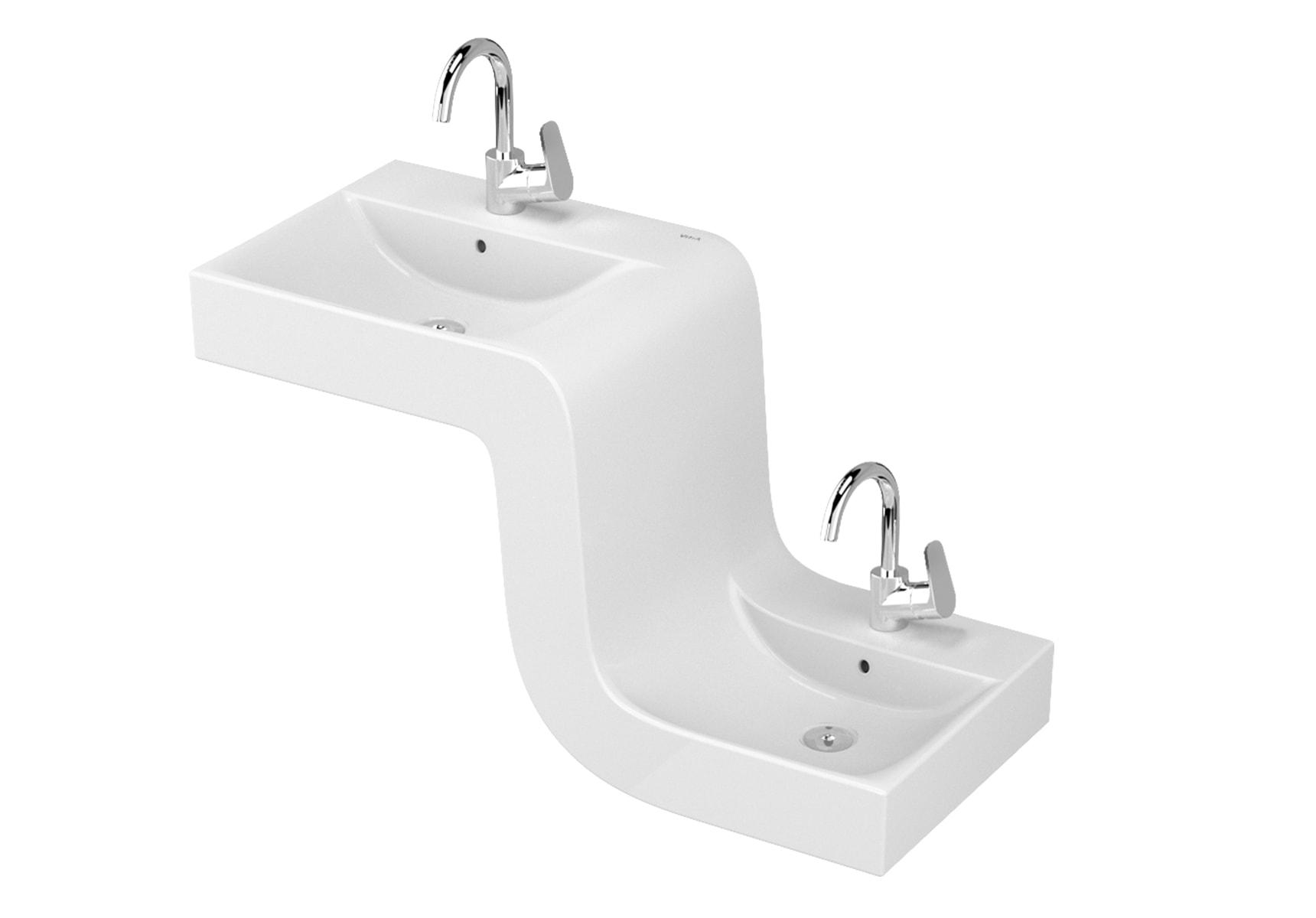 Family Covered Acrylic Washbasin-Plastic Siphon