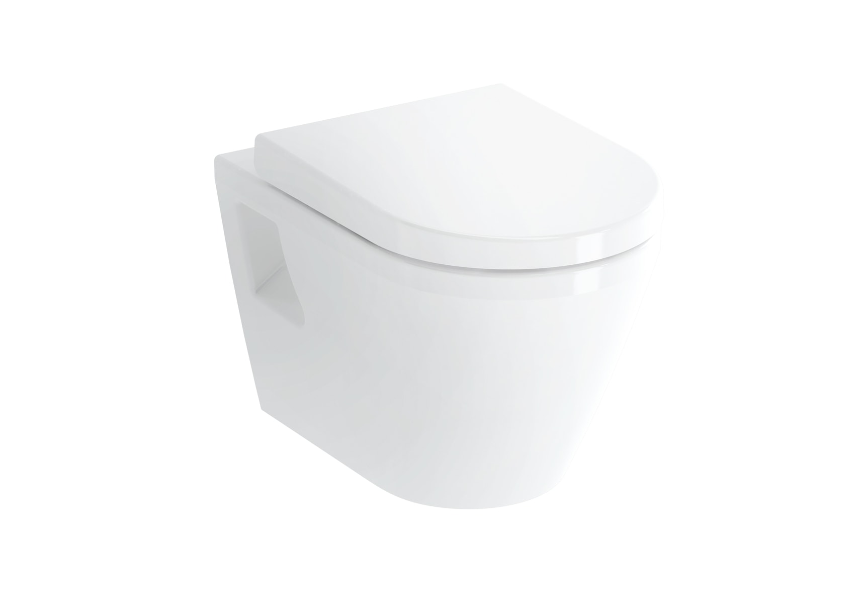 Wall-Hung WC Pan, Flach, 54cm, Without Side Holes