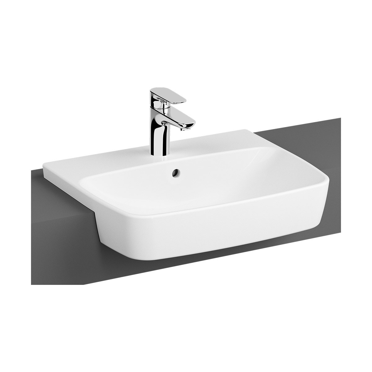 Shift Semi-Recessed Basin, 55cm, One Tap Hole, With Overflow Hole
